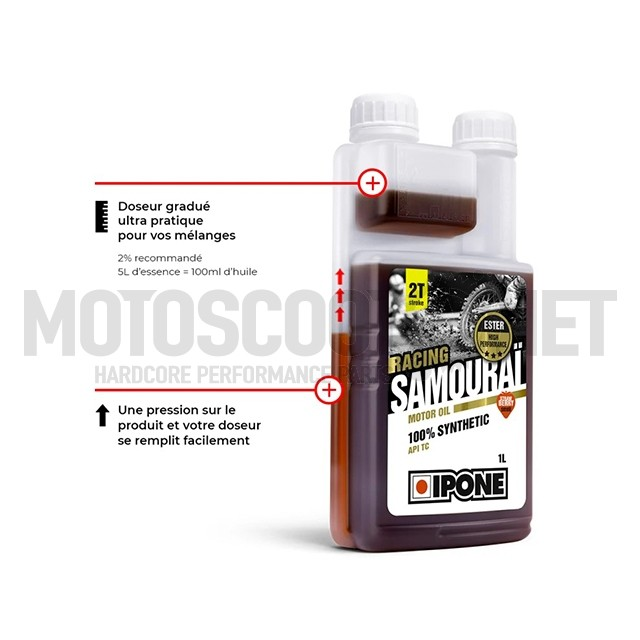 Aceite mezcla 2T 1L Ipone Samouraï Racing Olor Fresa ref: S28480A