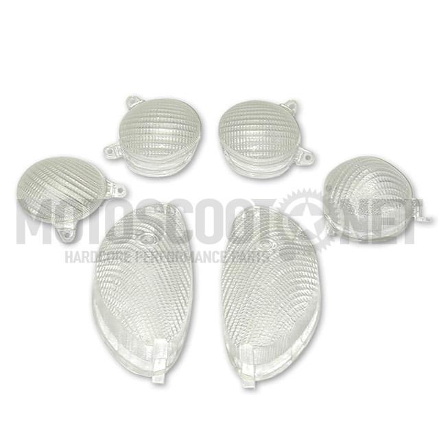 Tulipas transparentes (Set de 4) para intermitentes, MBK Skyliner/Yamaha Majesty 125cc (6 piezas)
