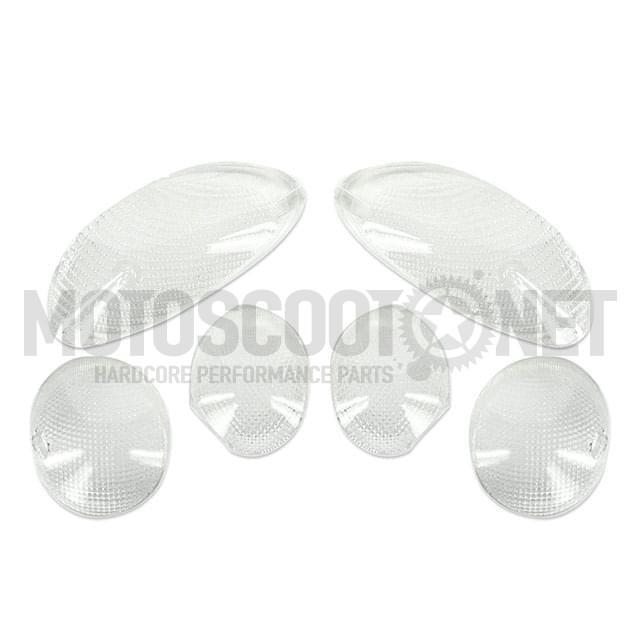 Tulipas transparentes (Set de 6) para intermitentes, MBK Skyliner 02/ Yamaha Maxster(6 piezas)