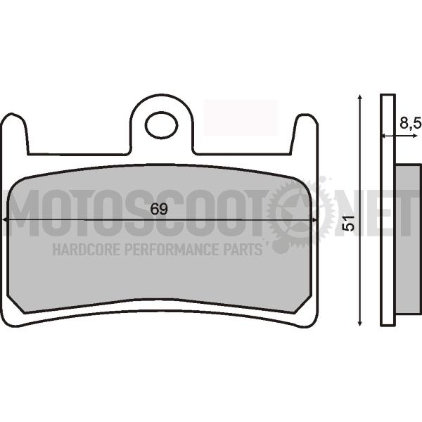 Pastillas de freno RMS orgánicas delanteras Yamaha T-Max 500/530 ref: 225101060