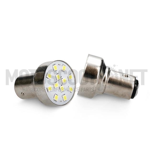 Bombillas Amolux LED blanco piloto trasero 12 LEDs tipo BAY15D 2 unidades