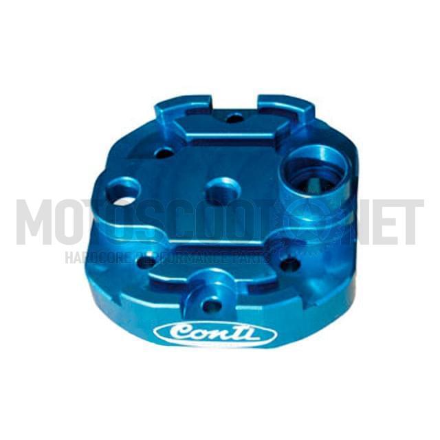 """Culata Conti """"Tuning"""" elaborado CNC, para cilindro de serie, Derbi (tipo: EBE050/EBS050), azul/metalizado"""