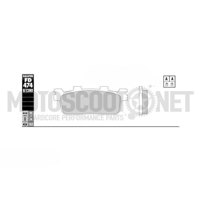 Pastillas de freno Galfer - Metal sinterizadas Scooter KYMCO PEOPLE 250 K-XCT 125/300