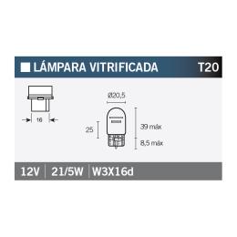 Bombilla Vitrificada T20 12V21/5W - W3X16d