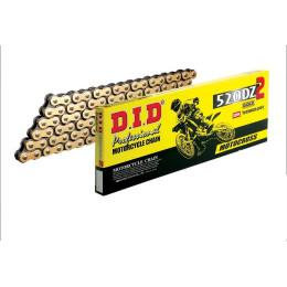 Cadena 520 DZ2 116 eslabones con enganche clip dorada DID