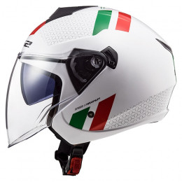 Casco Jet LS2 OF573 Twister II Combo Blanco Verde Rojo