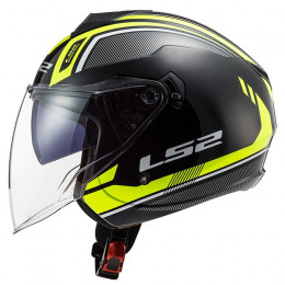 Casco Jet LS2 OF573 Twister II Flix Negro H-V Amarillo