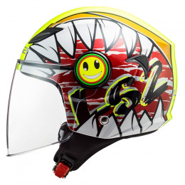 Casco Jet Junior LS2 OF602 Funny Crunch Blanco / Amarillo Fluor / Rojo
