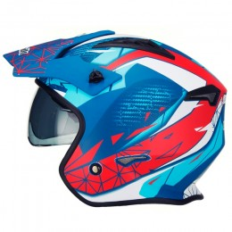 Casco trial Unik CT-07 Artic Azul/Blanco/Rojo