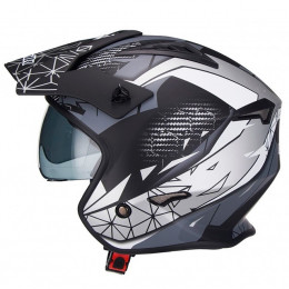 Casco trial Unik CT-07 Artic Negro/Blanco/Gris