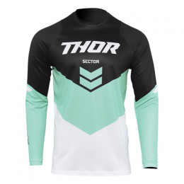 Camiseta Off-Road Infantil Thor Sector Chev Negro/Aqua