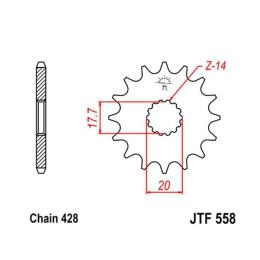 Piñon JT 558 de acero con 20 dientes