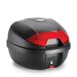 Baúl K30 Monolock® 30 Lts Negro con catadióptrico rojo Kappa