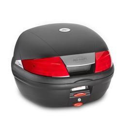Baúl Monolock® 35 Lts (negro) con catadióptrico rojo