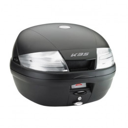 Baúl K35 Monolock® 35 Lts Negro con catadióptrico transparentes Kappa