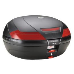 Baúl K49 Monokey® 47 Lts Negro con catadióptrico rojo Kappa