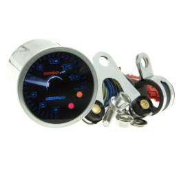 Cuentarrevoluciones KOSO digital Eclipse-Style, d.48mm, Selftest, iluminado azul, hasta 15.000 RPM, indicación cambia marcha