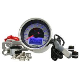 Velocímetro KOSO Digital Chrome-Style, iluminado azul, display cromado, hasta 160 km/h