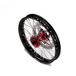 Llanta delantera aluminio 1.4x14 buje CNC con disco Pitbike YCF >2021 - Negro/rojo