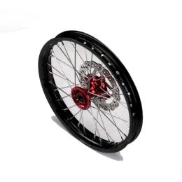 Llanta delantera aluminio 1.60x17 buje CNC con disco Pitbike YCF >2021 - Negro/rojo