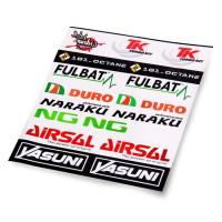 Kit de 19 pegatinas fabricantes sponsor Airsal, Naraku, NG, Yasuni transparente