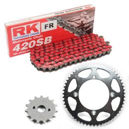 Kit transmissão RK Honda CR 80/85 (15/55/124) corrente 420 vermelha