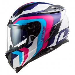 Capacete integral LS2 FF327 Challenger Galactic Branco/ Azul/ Rosa