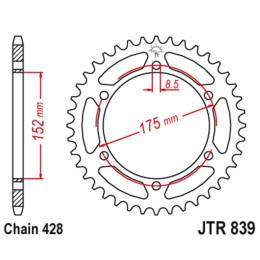 Cremalheira JT 839 de aço com 53 dentes