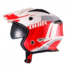 Helmet Full Face Unik CT-07 R-Graff con goggles - White/Red/Grey
