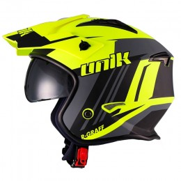 Helmet Trial Unik CT-07 R-Graff with visor - Fluorescent Yellow/Black/Grey
