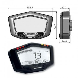 Multi-function Meter KOSO DB02 ROAD speed/odo/trip/rpm/temp up to 20.000rpm - White light