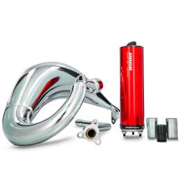 Exhaust Beta RR Enduro / SM >12 VOCA Cross Chromed 50/70cc (CE) - Red Silencer
